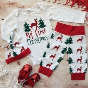 🆕 Boutique Baby Girl Christmas 4pc Outfit